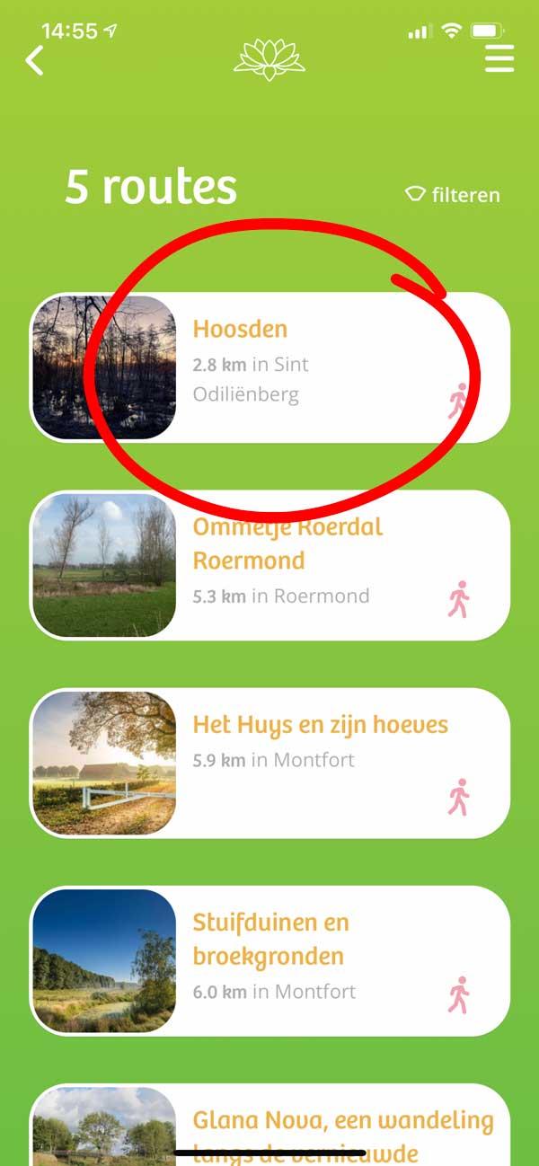 4. Kies de route 'Hoosden' uit het overzicht van routes.
